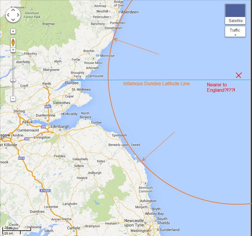 How a spot in the North Sea that is north of Dundee can indeed be nearer to England than Scotland.